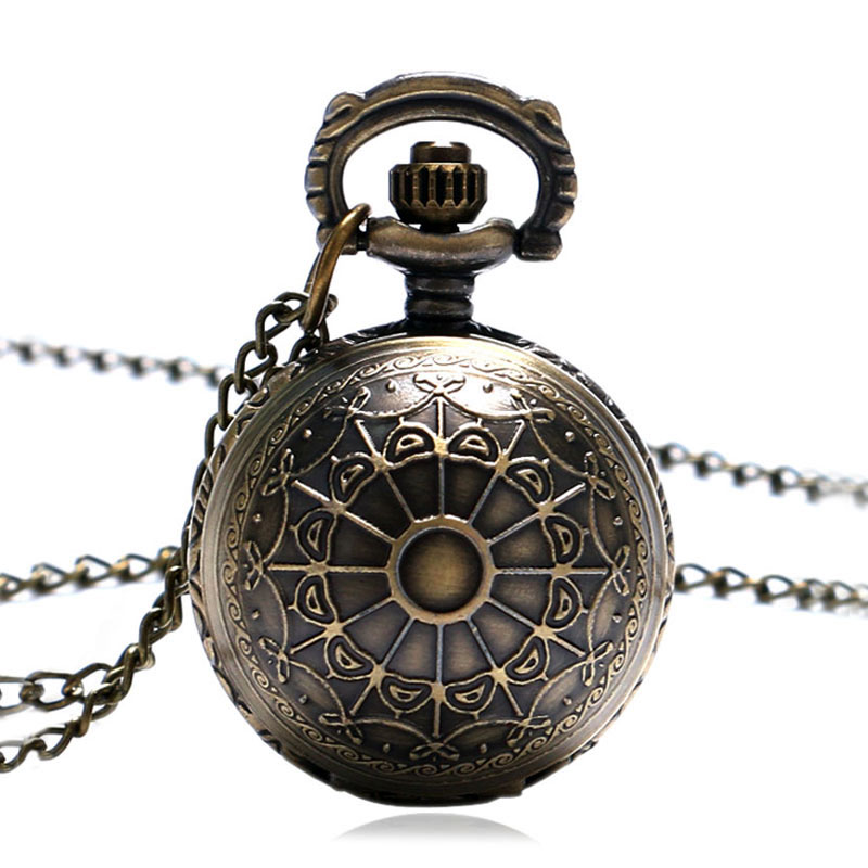 Cute Bronze Small Size Spider Web Ball Necklace Pendant Pocket Watch Chain Womens Lady Gift P65