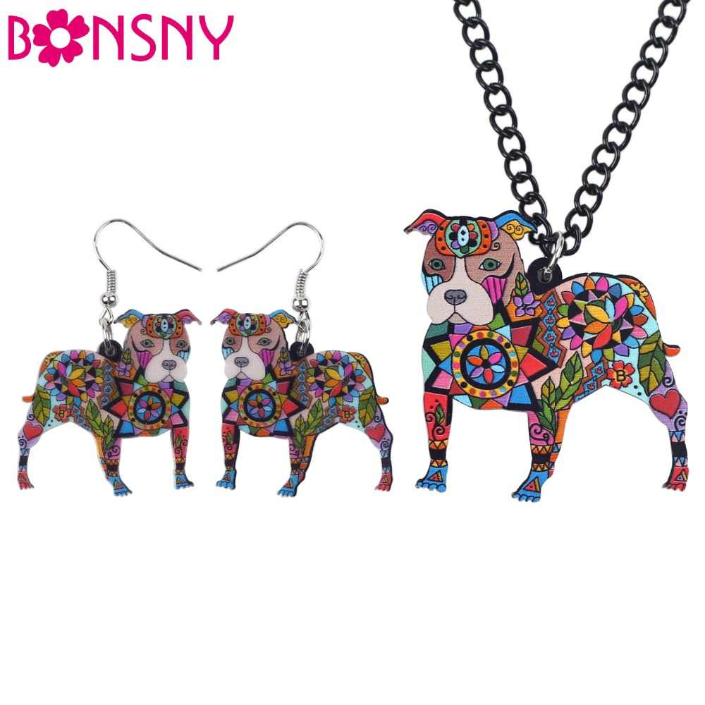 Bonsny thương hiệu trang sức thiết acrylic pit bull dog bông tai vòng cổ choker cổ trang sức thời trang 2016 tin tức phụ nữ mùa xuân cô gái món quà