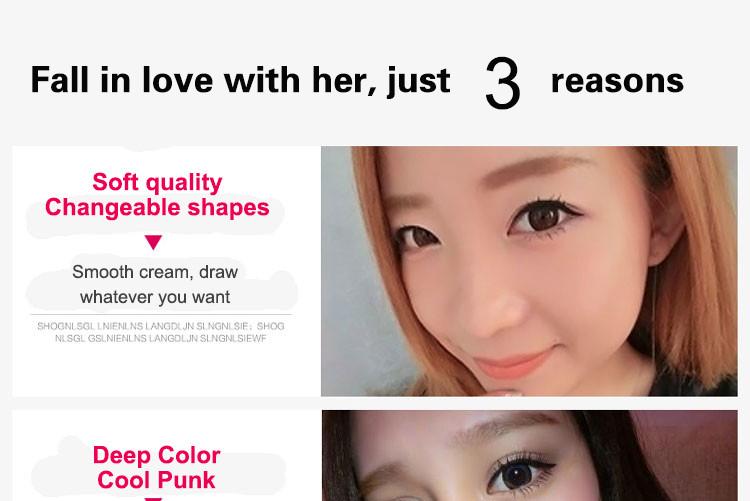 Music Flower 2 in 1 Coffee + Black Gel Eyeliner Make Up Waterproof Eye Liner Cosmetics Set Eyeliner Pens Makeup Brushes Set (7)