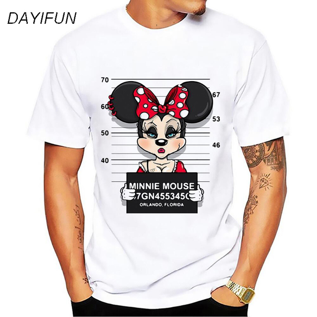DAYIFUN men Mickey print tees Goofy t-shirt women tops hip hop casual funny dog mouse cartoon tshirt homme lovers t shirt T-64