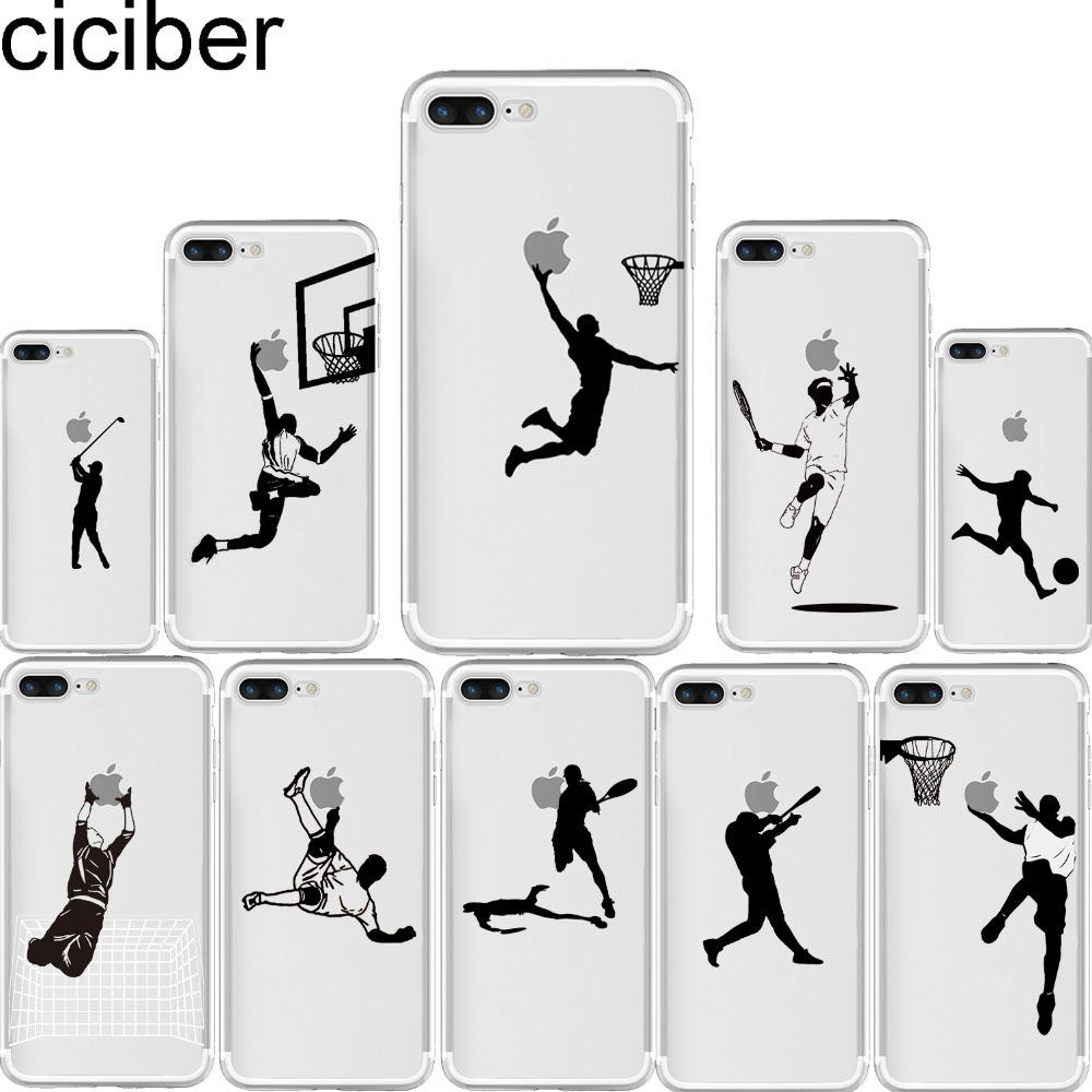 ciciber phone cases baseball football tennis Golf Athlete Silhouette Clear soft silicone cover for iphone 7 6 6S 8 plus 5S SE X