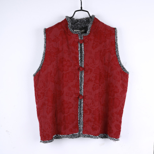 Autumn and Winter The New National Wind Sleeveless Jacquard Cotton and Velvet Buckle Vest Short Vest Women