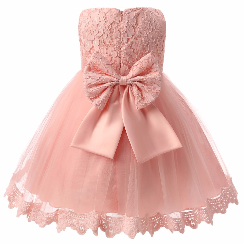 Big Bow Lace Newborn Party Wedding Dress