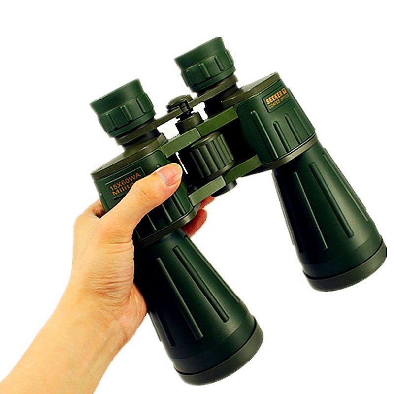 Buscador de binoculares 15X60 Alemania Militar Poderoso telescopio binocular Ejército Verde Telescopio Profesional Caza de alta definición