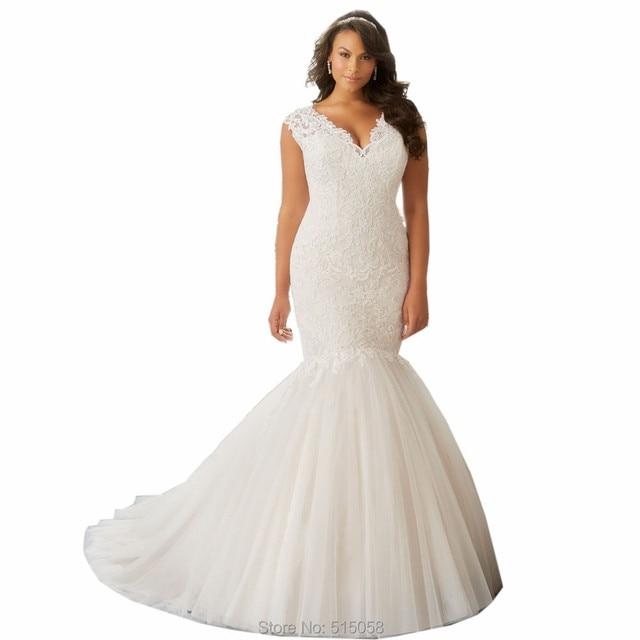 Aliexpress.com : Buy Plus Size Bride Dresses 2016 Modest Cap Sleeves ...