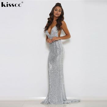 V Neck Sequined Party Dress Padded Backless Bodycon Mermaid Maxi Dress Floor Length Sleeveless Evening Party Dresses Navy Silver