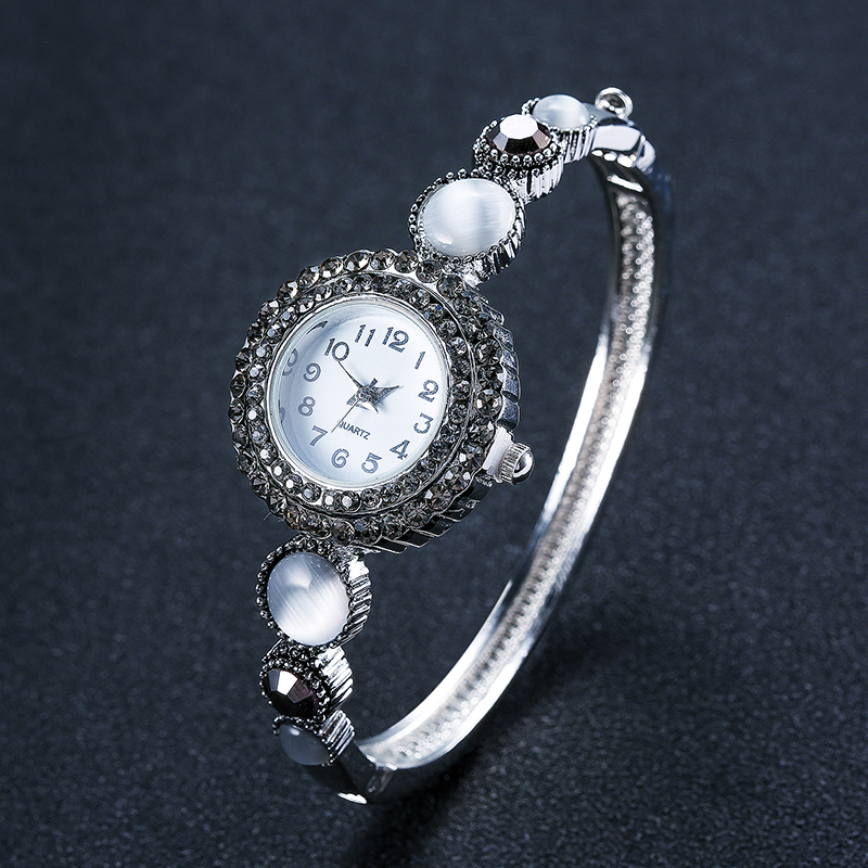 Pearl Women's Watches Bracelet Vintage Small Dail Steel Bangle Watch Band Silver Color Lady Quartz Dress Clock Mujer Female baosaili vintage silver women watch brand turquoise retro bangle bracelet dress wrist watch steel band quartz watch clock gift