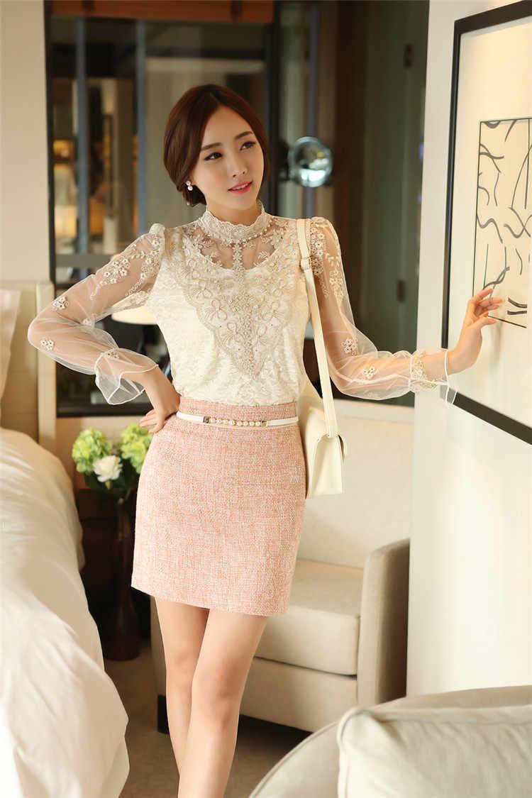 2019 Fashion Musim Semi Lengan Panjang Kaos Wanita Renda Kemeja Slim Elegan Plus Ukuran Seksi Renda Kemeja Wanita Atasan 980F 35