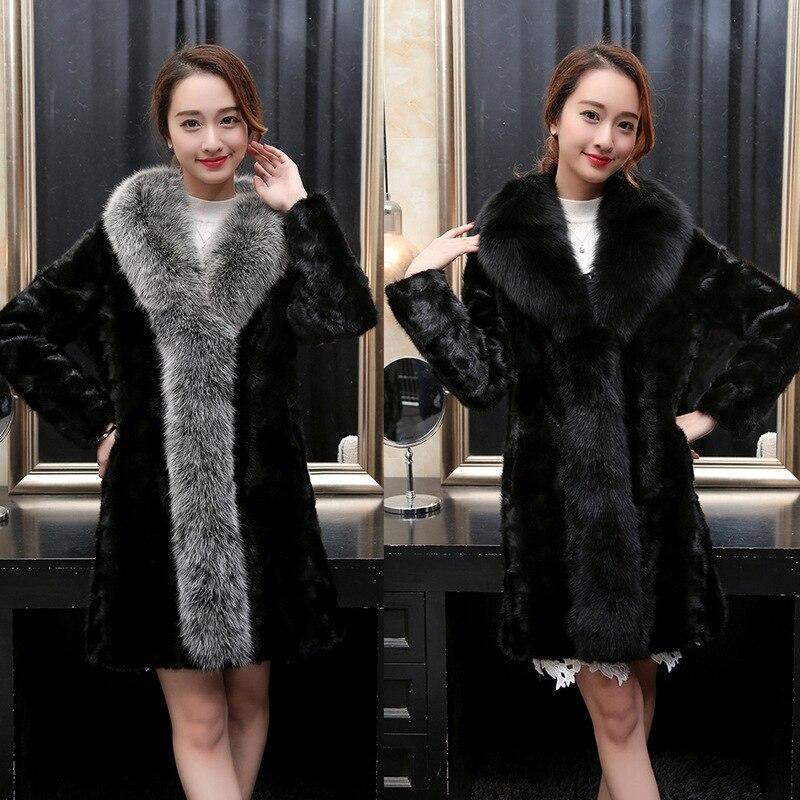 Leiouna 2018 Black Gray Woman Ladies Faux Fur Coats Women Jackets Loose 5Xl Winter Warm Long Mink Coat
