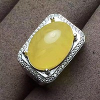 Natural and Real Amber Man Ring 925 sterling silver Wholesales Fine jewelry Natural Amber Man Ring 13*18mm
