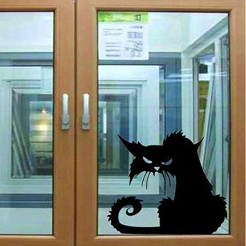 Removable Wall Stickers Halloween Black Cats Decoration Sticker Decals for Walls Home Living Room Decoration 1pc
