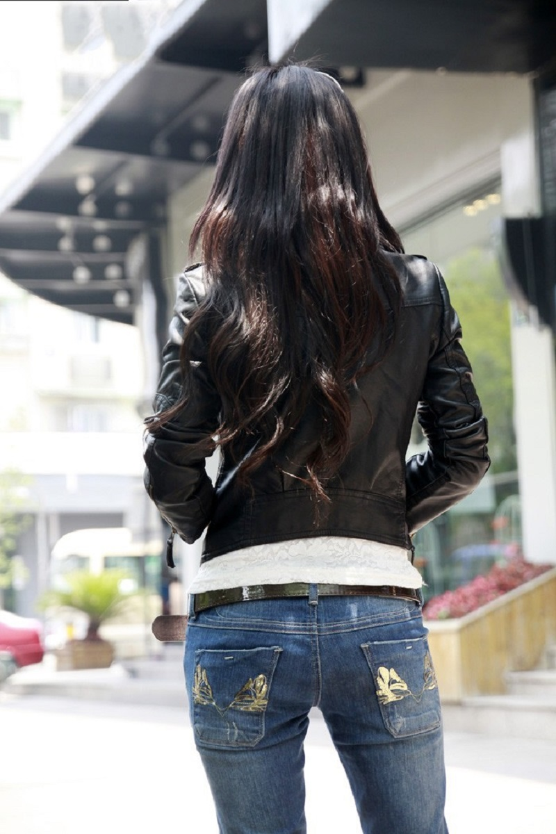 OLGITUM 18 Autumn Women Black Slim Cool Lady PU Leather Jackets Sweet Female Zipper Faux Femme Outwear Coat Plus Size JK254 15