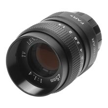 En İyi fırsatlar televizyon TV 25mm f/1.4 Lens C dağı Lens için TV/CCTV/sinema c mount kameralar F1.4 siyah