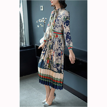 2018 Spring Women Clothing National Wind Vintage Dress Elegant Printed Loose Bow Pleated Dress Women Plus Size Dress YM288