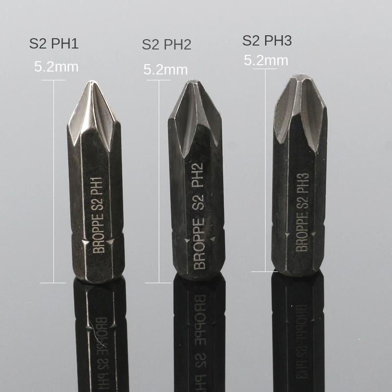 HOEN 3PCS 8mm Hex Heavy Duty Impact Impact Screwdriver Cross Phillips Electric Magnetic Screwdriver Bit Set For Loosen Screws