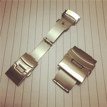 Watch accessories stainless steel double press folding safety buckle metal double safety buckle steel strap plane buckle spot(China)