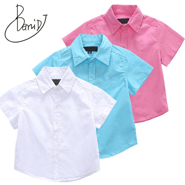 a3d3d44b4f2 2018 Casual Baby Children Boy Cotton Short Sleeve Blouse For Summer Kids  Boys White Shirts New Fashion 1-13 Yrs Baby Boy Clothes
