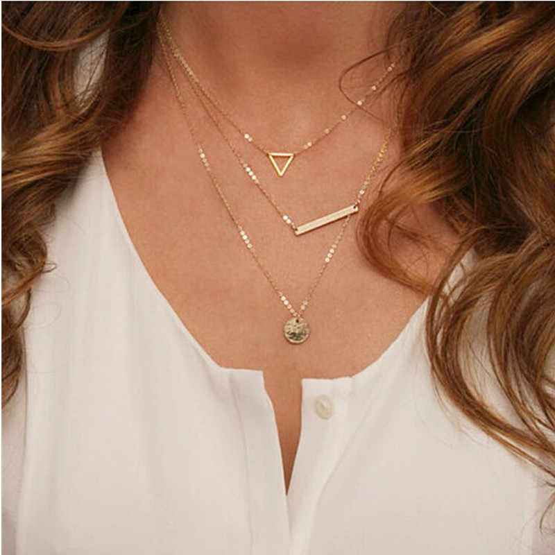 2018 Multilayer Necklaces Triangle Round Fashion Multi Layer Chain Necklace For Women Everyday Jewelry Fashion