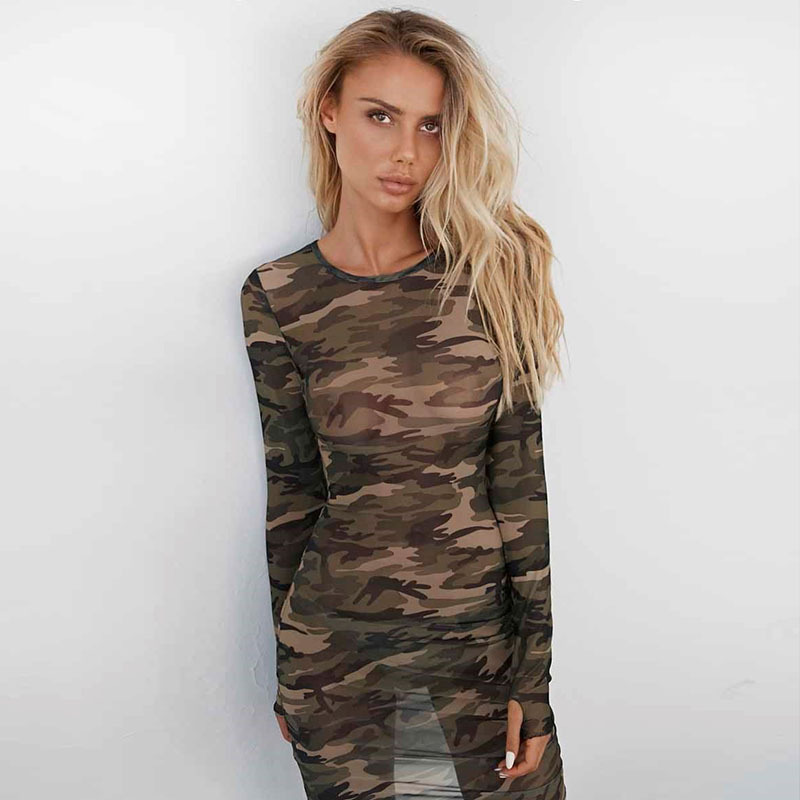 Spring Woman 2018 Women Dresses Brazil Kim Kardashian Boho Clothing Club Factory Sexy Clothes Beach Dress Tunic Mesh O Neck Midi