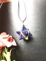 Natural Blue Sand Stone Crystal Merkabah Pandent Hand Carved Stone Necklace Natural Crystal Ornment