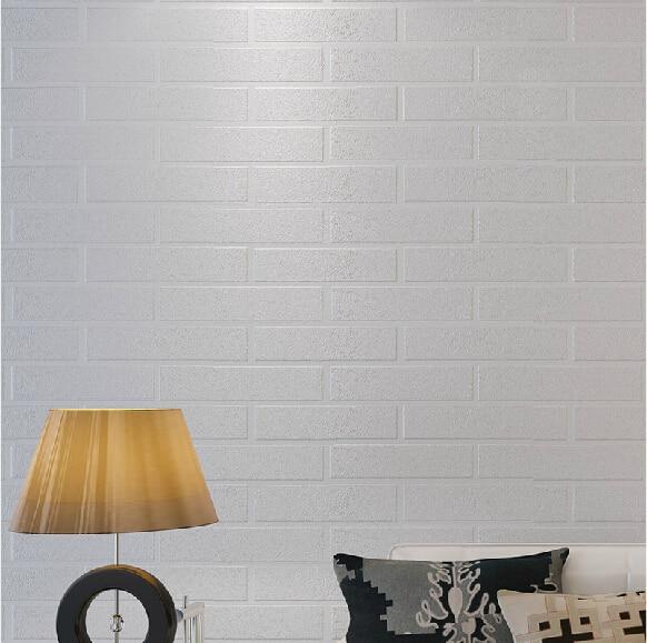 Modern Minimalist Living Room Wallpaper Stereoscopic 3D White Brick TV Backdrop Clothing Store