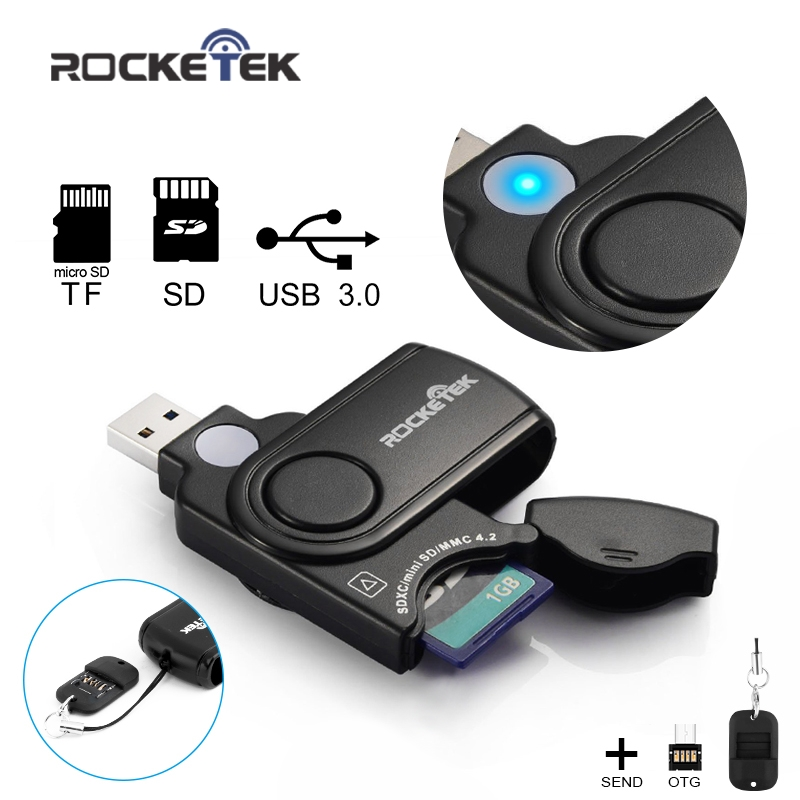 Rocketek Usb 3.0 Multi 2 In 1 Memory Otg Phone Card Reader 5Gbps Adapter For SD/TF Micro SD For Pc Computer Laptop Accessories