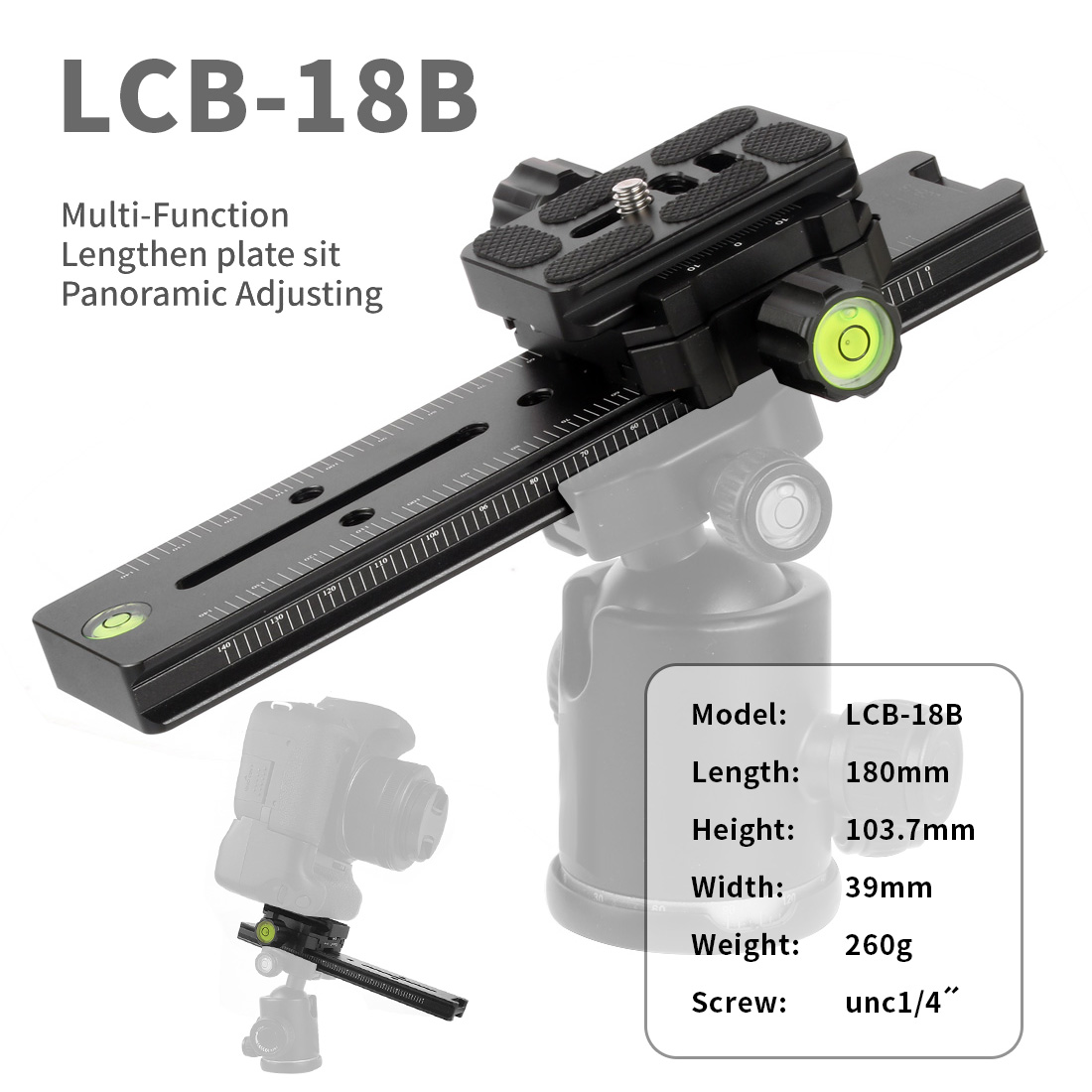XILETU LCB-18B Track Dolly Slider Focusing Rail Slider & Clamp Focus QR Plate Meet Arca Swiss 1/4 Screw For Canon DSLR Camera