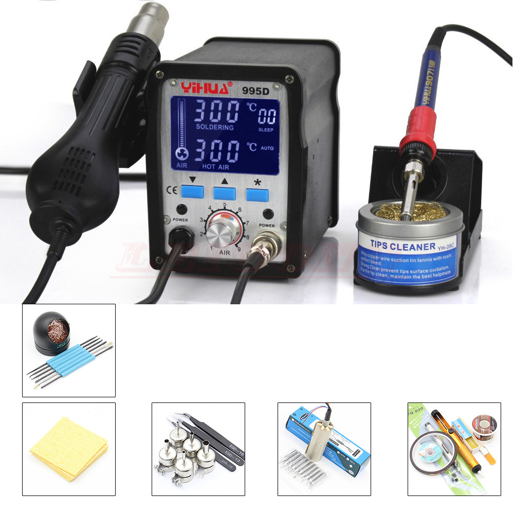 YIHUA 995D 220V 2 in 1 Hot Air Rework Solder Soldering Station Heat Gun SMD Rework Station + Soldering Iron Motherboard Desolder dhl yihua 995d soldering station used for motherboard repair tools 1pc