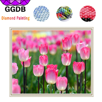 GGDB 5D DIY Diamond Painting Beautiful Tulip Resin Canvas Painting By Numbers Printed Cross Stitch Needlework