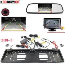 Koorinwoo Car European License Plate Frame camera Car Rear View Camera parking Sensor Buzzer Car Mirror Monitor TFT LCD Display