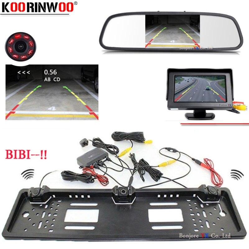 Koorinwoo Auto Europeo Della Pagina della Targa della macchina fotografica Auto Videocamera vista posteriore Sensore di parcheggio Buzzer Auto Monitor Dello Specchio TFT LCD Display