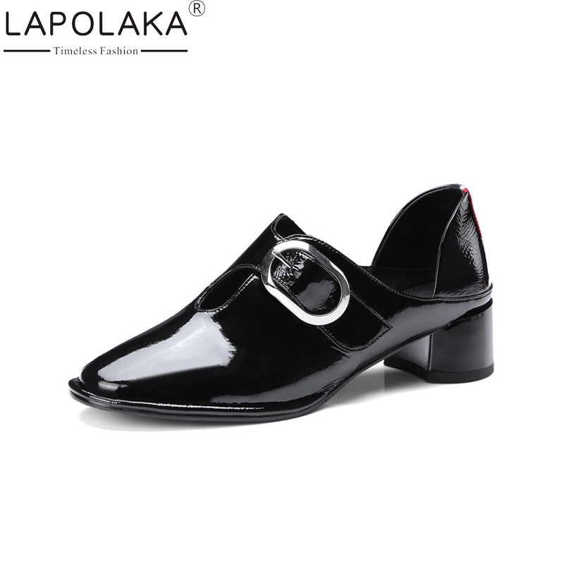 LAPOLAKA New Fashion Genuine Leather Square Med Heels Solid Round Toe Shoes Woman Casual Spring Pumps Black Big Size 34-43 купить