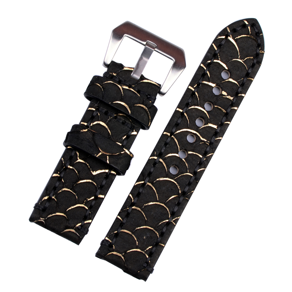 Handmade High Quality Genuine Fish Leather Watchband 24mm With High Quality Hardware Silver&Black недорго, оригинальная цена