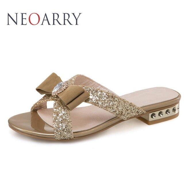 ebef9ebf1363 NEOARRY Glitter Summer New Women Flat Slippers Sandals Fashion Flip Flops  Crystal Studs Butterfly-knot Beach Shoes JT093