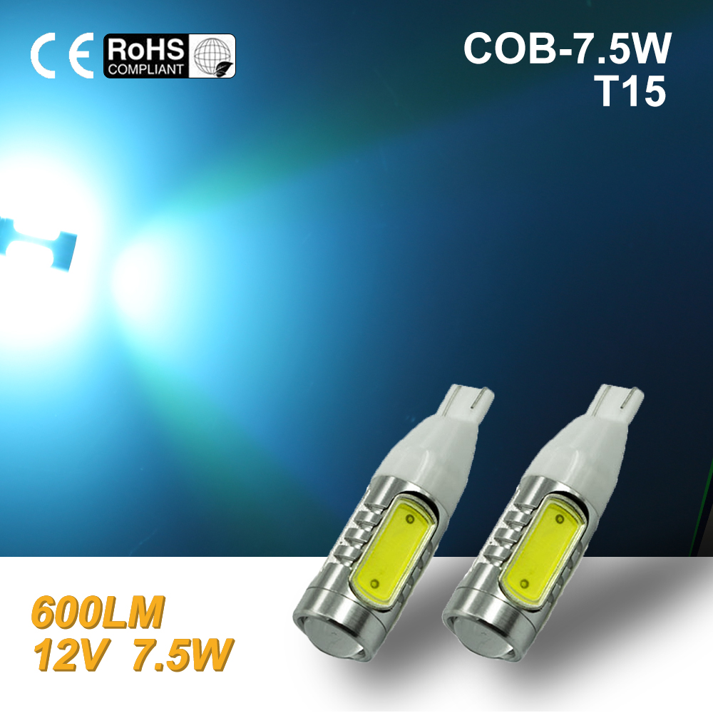 White High Power COB T10/T15 7.5W LED Projector Backup Reverse LED Lights 921 ice blue