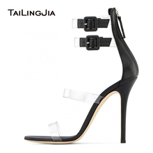Sexy High Heel Black Strappy Women Clear Sandals Large Size Ladies Heeled Summer Transparent Shoes Stiletto Heels Ankle Strap
