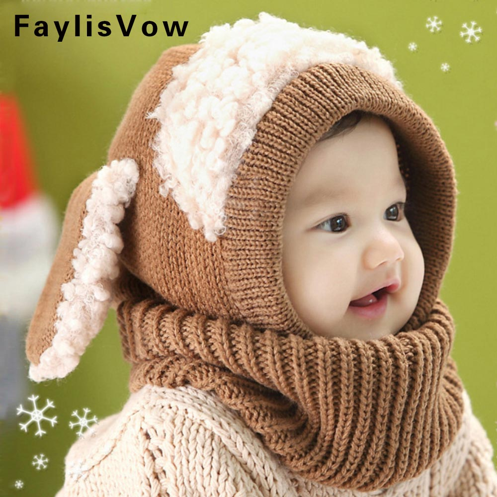 Baby Infant Rabbit Ears Knitted Caps Newborn Photography Accessories Hooded Scarf Toddler Winter Hat Beanie Casquette Enfant