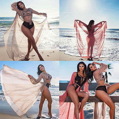 c85ad1b2228ef Women s Chiffon Bikini Set Red Pink Cover Up Swimsuit Swimwear Beach Shirt Dress  Bathing Suit