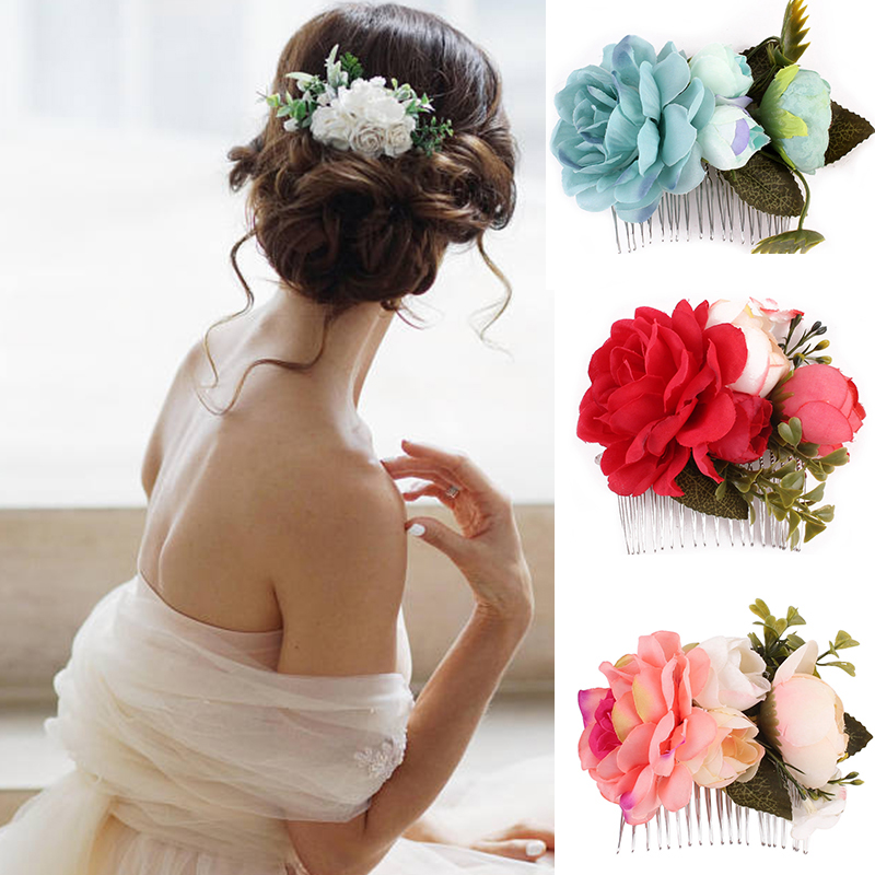 Mixed Colors Flat-Bottomed Beautiful Bohemian Style DIY Handmade Decorative Chiffon Flowers with Pearl and Rhinestone for Hair Clips,Wedding Flowers Chiffon Scale Flowers 10Pcs