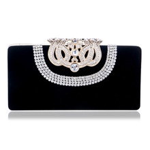 купить Foreign trade new suede handbag extravagant luxury banquet socialite dinner evening bags delicate crown diamond package по цене 1583.95 рублей