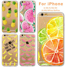 Case For Apple iPhone 6 6s Plus 6Plus 4 4S 5 5S SE 5C Soft Silicon TPU Transparent Fruit Pineapple Lemon Banana Thin Phone Cases