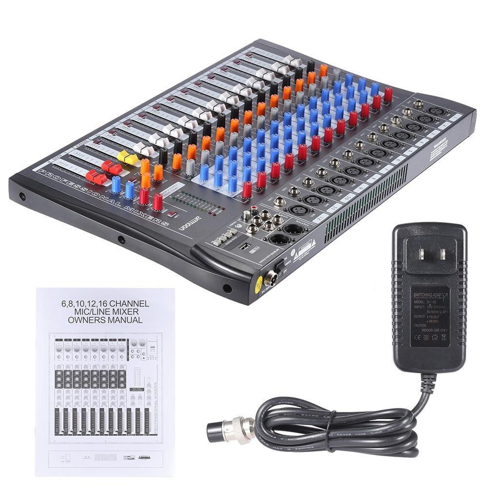 Ammoon 12 canaux micro ligne Audio guitare mélangeur Console de mixage USB XLR entrée 3 bandes EQ 48V alimentation fantôme avec adaptateur secteur