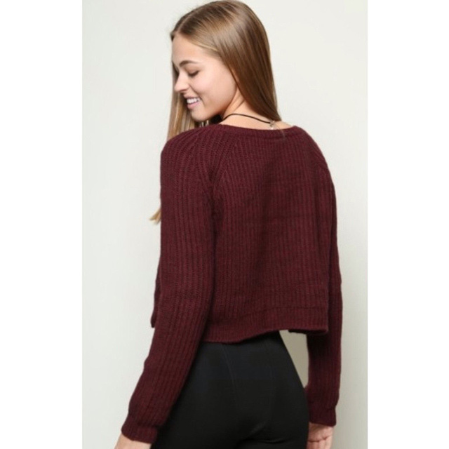 long sleeve knitted cropped sweater