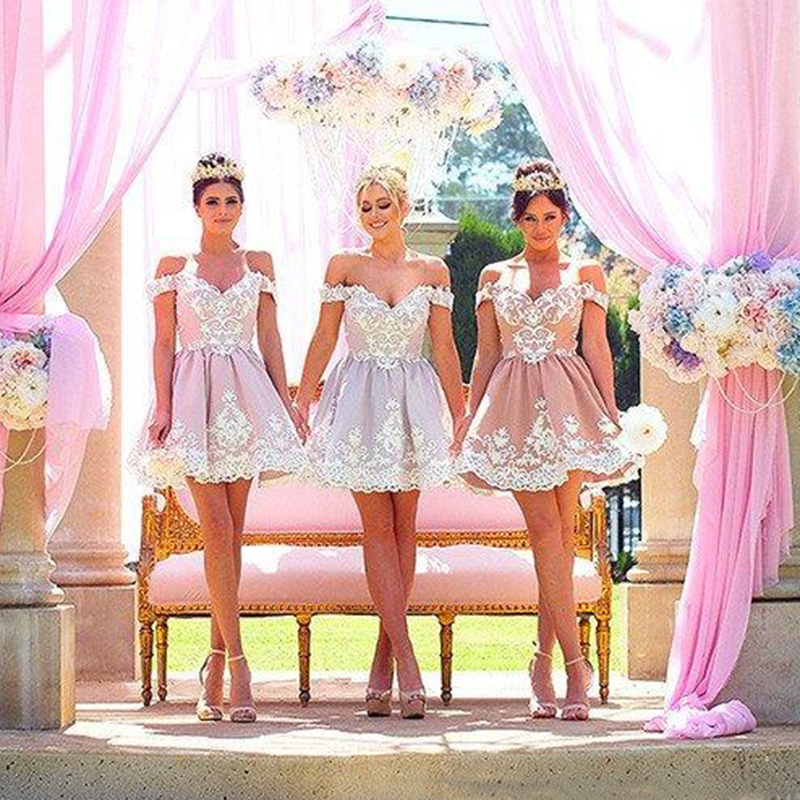 2019 Princess   Bridesmaid     Dresses   for Wedding Party Cheap Custom Made Off the Shoulder Short Lace Prom Gowns
