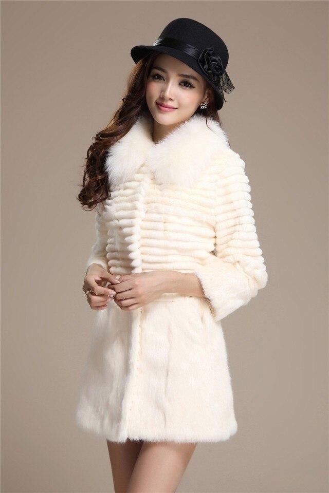 Veste Gratuite D'hiver Avec Livraison Pleine Manteau Véritable Nouveau Longue Taille Fourrure Grande 4xl Lapin Pelt Femmes Renard De Col 6FAdwq