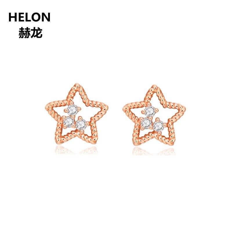 Boucles d'oreilles en or Rose massif 14k diamants naturels boucles d'oreilles de bureau Style carrer femmes boucles d'oreilles bijoux fins modèle de corde