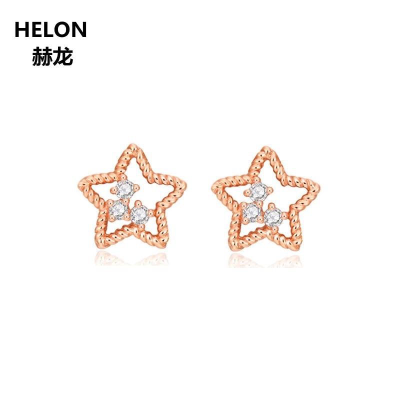 все цены на Solid 14k Rose Gold Natural Diamonds Stud Earrings Office Carreer Style Women Earrings Fine Jewelry Rope Pattern