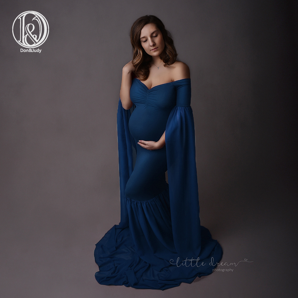 b632789e8fc D J 2019 Fashion Maternity Dress for Photo Shoot Maxi Maternity Gown Extend Long  Sleeves Fancy Women Maternity Photography Props
