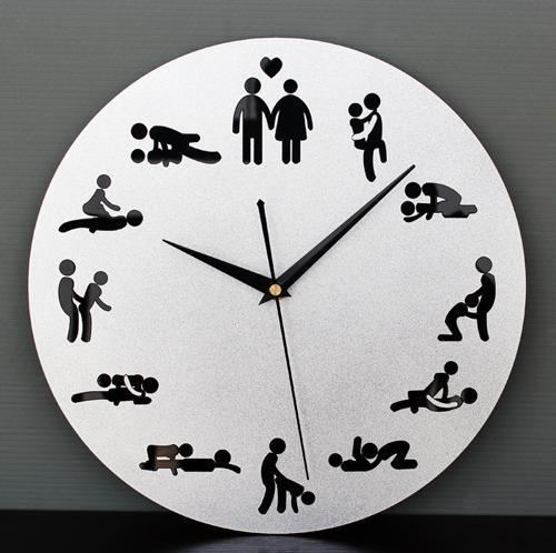 Free Shipping Sex Position Clock 24Hours Sex Clock Novelty Wall Clock For Living  Room(1