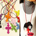 2016 New Arrivals! Candy color Cross leather(1M)  Necklaces Pendants  for women men designer jewelry jewellery nke-h96